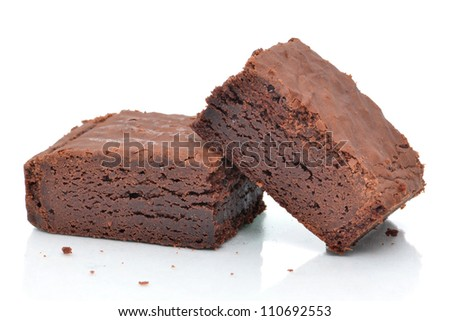 brownies dessert white background - stock photo