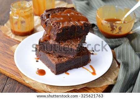 Brownies with Caramel Sauce, horizontal - stock photo