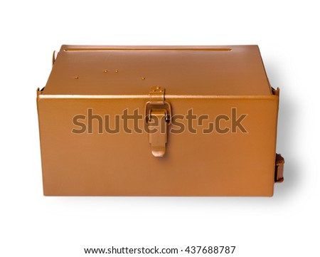 Brownmetal military box cut out on white background - stock photo