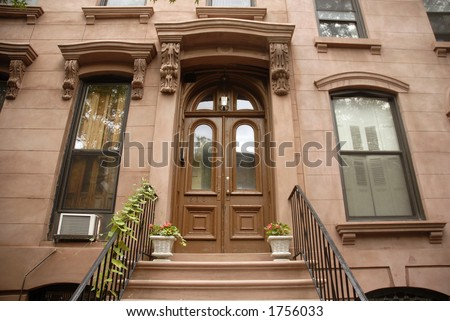brownstone - stock photo