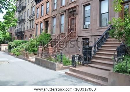 Brownstone Homes Steps Urban Residential Neighborhood Brooklyn New York - stock photo