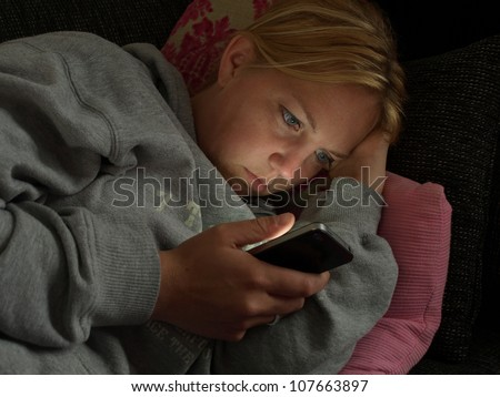 browsing on smartphone - stock photo
