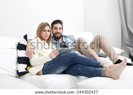 Browsing the web together - stock photo