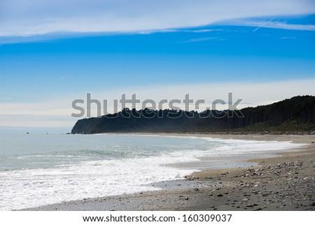 Bruce bay,Tasman Sea,South island, New Zealand - stock photo