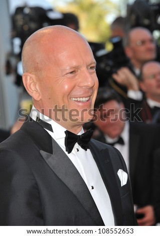 """Bruce Willis at the premiere of his movie """"Moonrise Kingdom"""" - the gala opening movie at the 65th Festival de Cannes. May 16, 2012  Cannes, France Picture: Paul Smith / Featureflash - stock photo"""