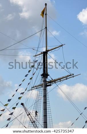 Brunel's ss Great Britain Boat Mast - stock photo