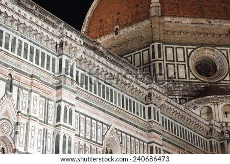 Brunelleschi dome at night, Cathedral of Florence, Italy - stock photo