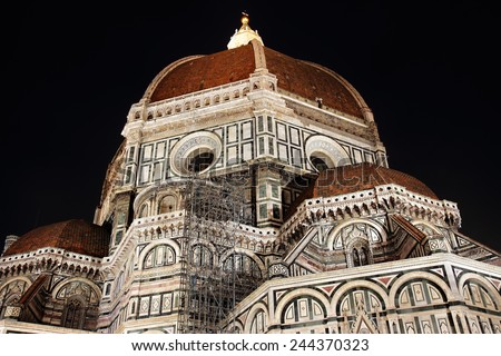 Brunelleschi's dome at night, the largest masonry dome ever built is the coverage of the Cathedral of Florence.  - stock photo