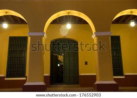 Brunet Palace by night, Trinidad, Cuba - stock photo