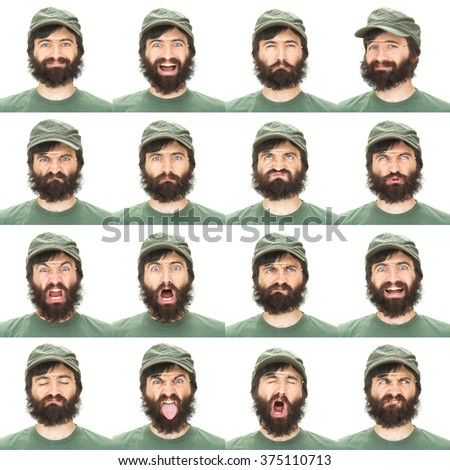 brunette beard with green hat adult caucasian man collection set of face expression like happy, sad, angry, surprise, yawn isolated on white - stock photo