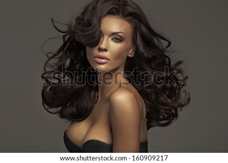 Brunette beauty - stock photo