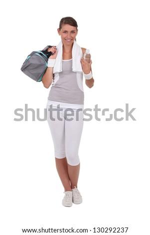 Brunette dressed in sportswear - stock photo