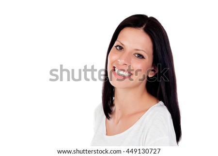 Brunette girl with a beautiful smile looking at camera isolated on a white background - stock photo