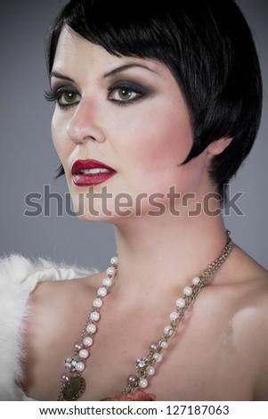 Brunette portrait, Twenties lady - stock photo