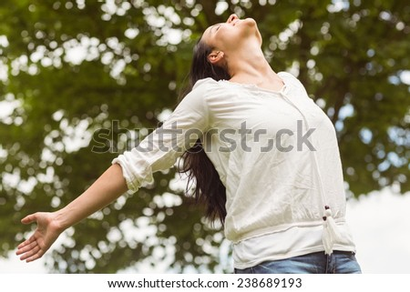 Brunette smiling and enjoying her freedom in the park - stock photo