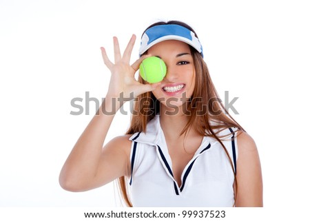brunette tennis girl with white dress and sun visor cap with green ball - stock photo