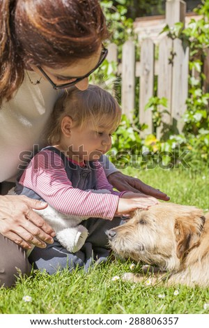 brunette woman mother and blonde baby two years old age touching with hand and petting a brown terrier breed dog belly lying over green grass lawn - stock photo