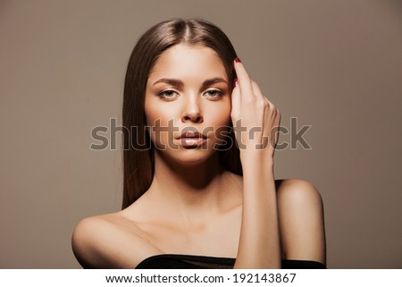 Brunette Woman Portrait with healthy Hair.Clear Fresh Skin. Beauty Model - stock photo