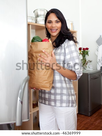 Brunette woman unpacking grocery bag in the kitchen - stock photo
