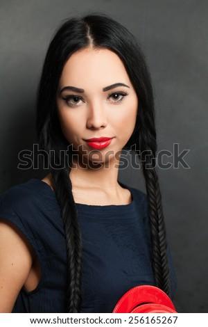 Brunette woman vogue style portrait - stock photo