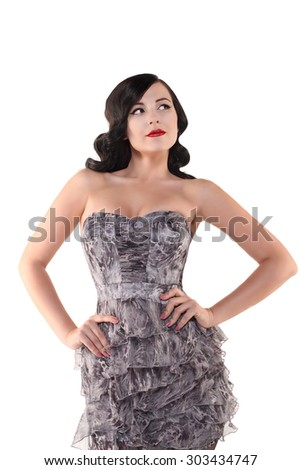 brunette woman with red lips and vintage hairstyle isolated on white background - stock photo