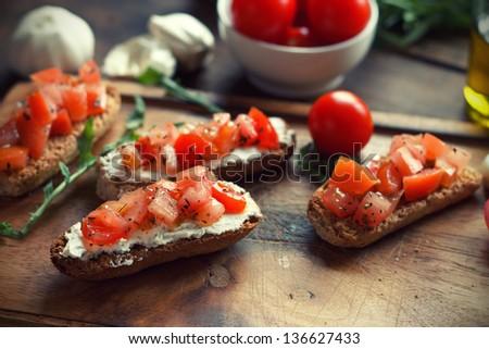 Bruschetta on Toasted Baguettes - stock photo