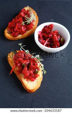 bruschetta with roasted zucchini, food closeup - stock photo