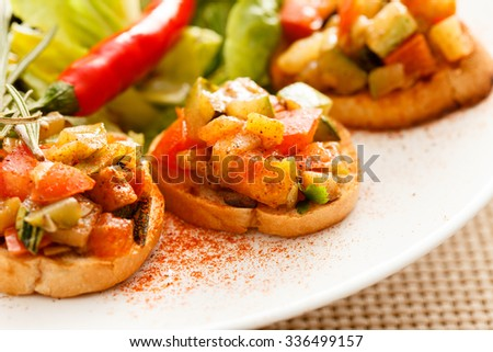 bruschetta with vegetables - stock photo