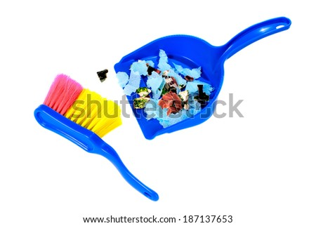 Brush and scoop with garbage isolated on white background - stock photo