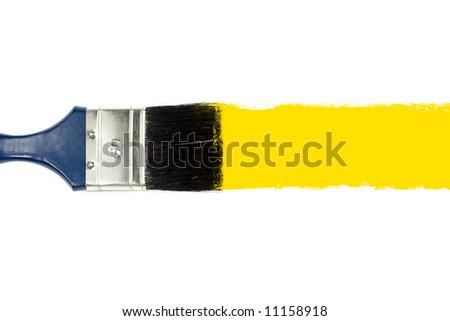 Brush and yellow paint stroke - stock photo