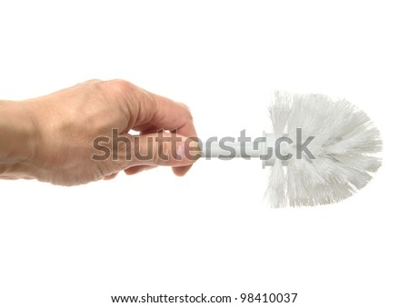 brush for toilet bowl cleaning, it is isolated on the white - stock photo