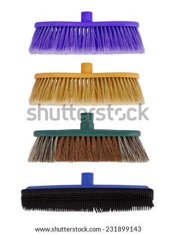 Brush for washing isolated on white - stock photo