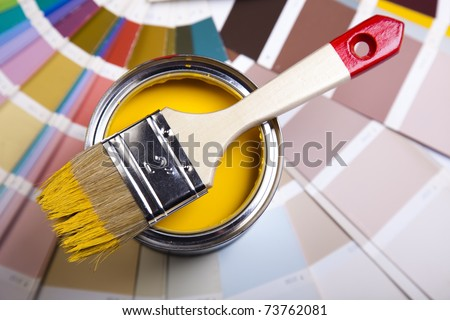 Brush, Paint and cans - stock photo