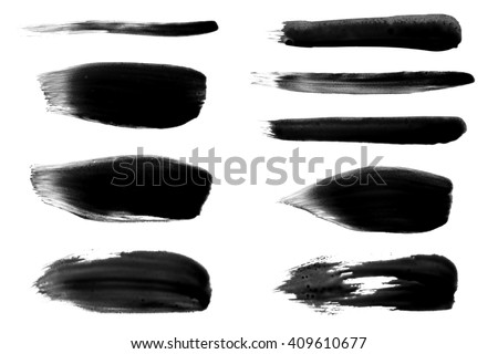 brush paint stroke collection - stock photo