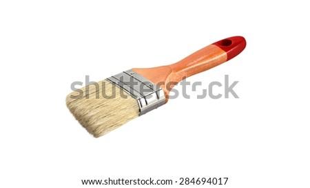 Brush, paint, white. - stock photo