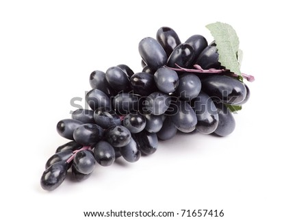 Brush ripe grapes on the white background - stock photo