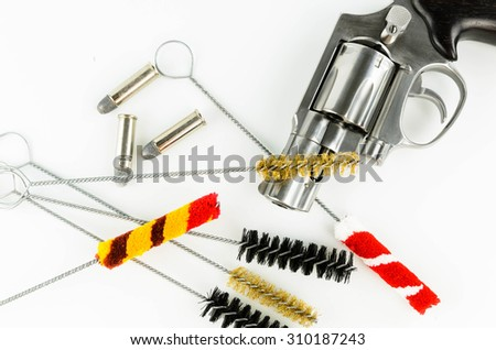 Brush Set Cleaning Gun and Weapons on White Background - stock photo