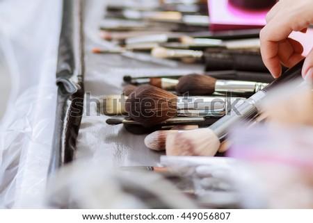Brush set for make-up on table make-up brush for powder - stock photo