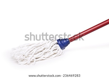 brush with cloth for scrubbing floors - stock photo