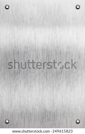 Brushed aluminum metal plate - stock photo