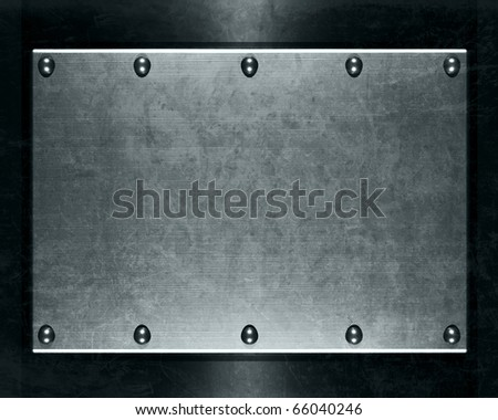 Brushed aluminum metallic plate for backgrounds - stock photo
