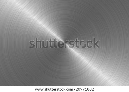 Brushed aluminum steel metal background circular pattern - stock photo
