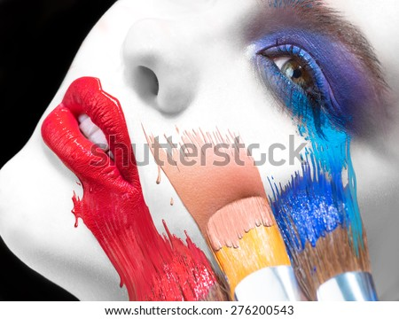 Brushes and paints Makeup - stock photo