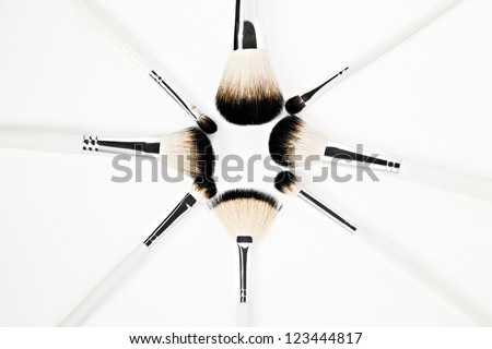 Brushes for make-up, isolated on white background - stock photo