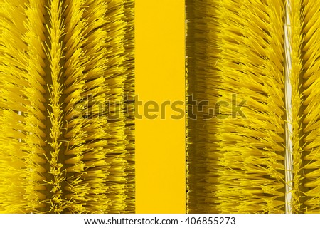 Brushes of cleaning oil spill machine, equipment for collecting spilled petroleum from water surface, oil skimmer, environmental pollution, selective focus, abstraction  - stock photo