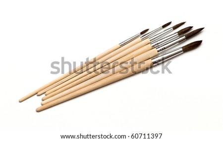 brushes set isolated on a white - stock photo