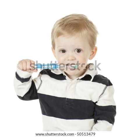 Brushing Teeth for Good Hygiene - stock photo