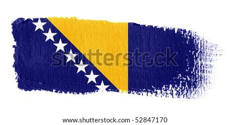 Brushstroke Flag Bosnia and Herzegovina - stock photo