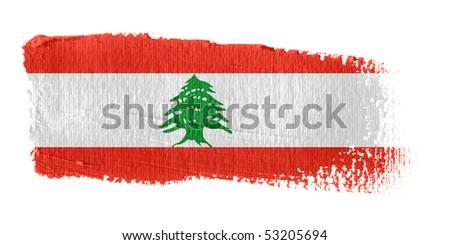 Brushstroke Flag Lebanon - stock photo