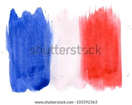 Brushstroke Flag of France - stock photo
